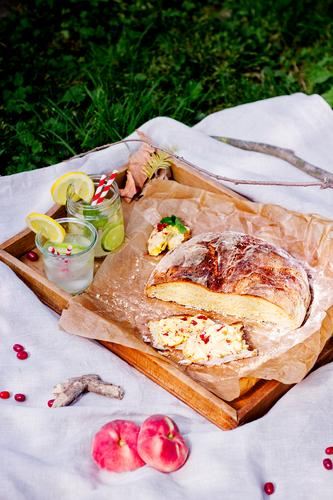 summer picnic Lifestyle Vacation & Travel Trip Freedom Summer Nature Sun Grass Garden Park Meadow Emotions Picnic Bread Beverage Healthy Eating Straw Peach