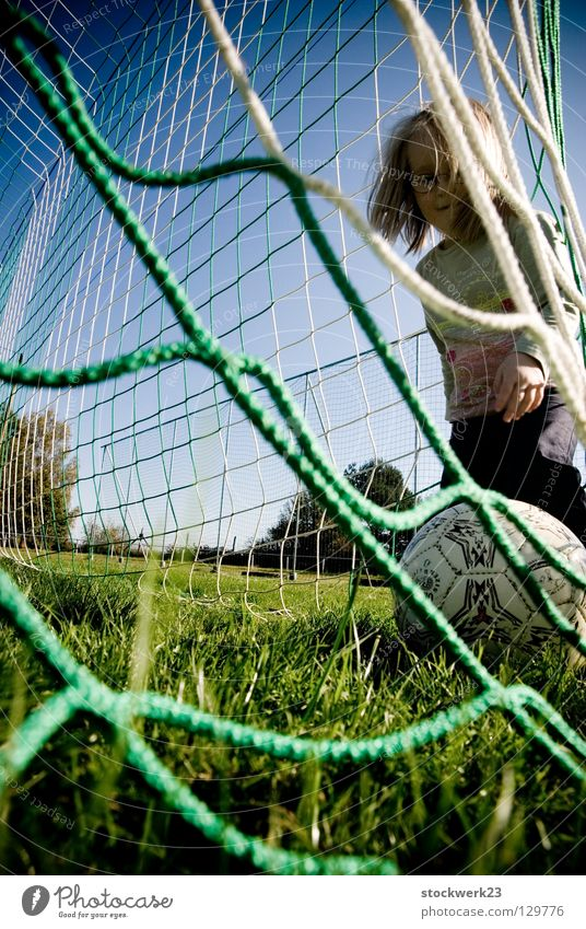 Child Joy Sports Playing Grass Spring Soccer Soccer player Ball Net Gate Enthusiasm Goalkeeper