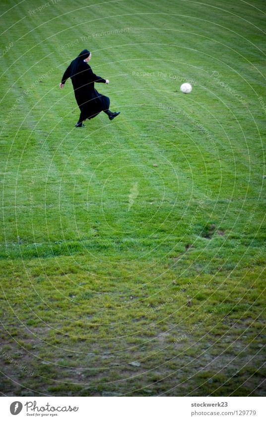 Joy Sports Playing Grass Spring Clergyman Soccer Ball Obscure Side Enthusiasm Shot Nun