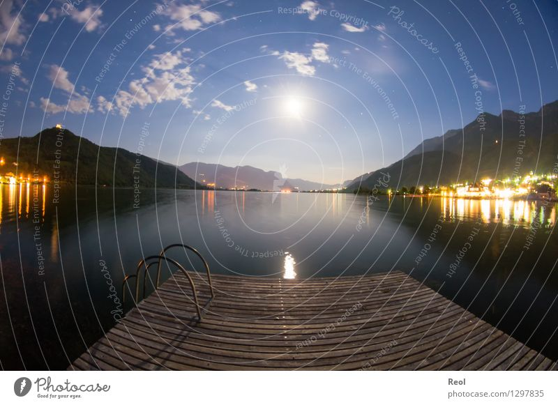 Nocturnal footbridge Adventure Far-off places Summer vacation Nature Landscape Elements Water Sky Night sky Moon Full  moon Beautiful weather Hill Alps Mountain