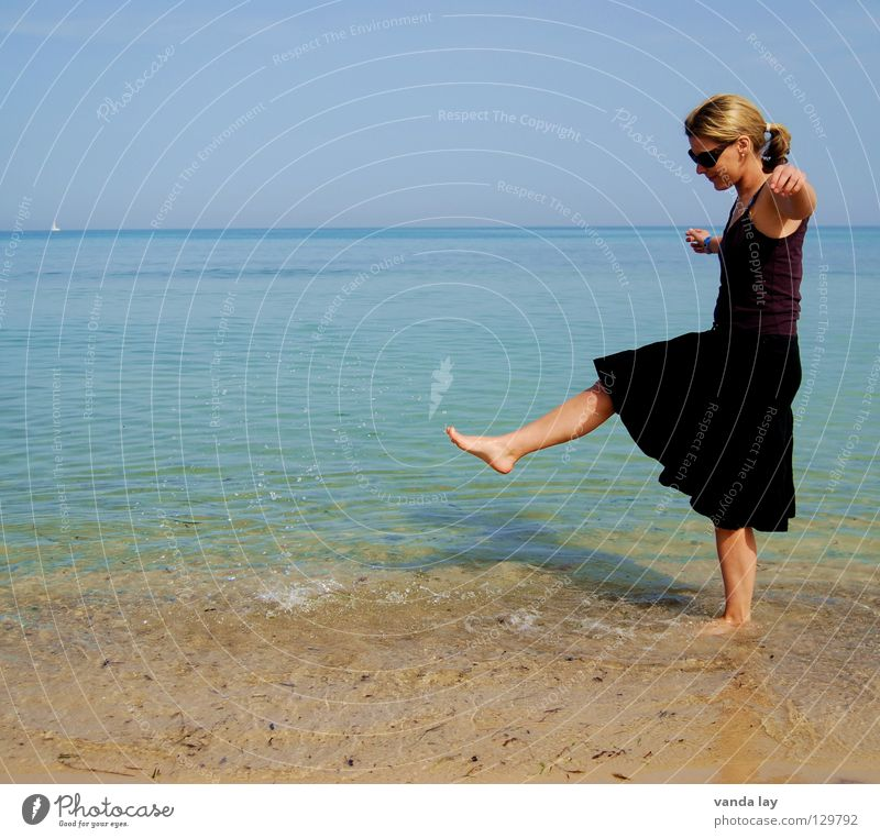 Woman Nature Blue Water Vacation & Travel Summer Ocean Joy Beach Black Playing Coast Sand Legs Horizon Dance