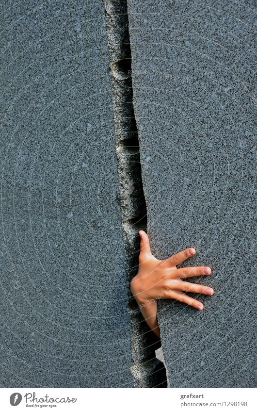 Human being Hand Wall (building) Funny Gray Stone Power Success Fingers Curiosity Mysterious Claustrophobia Search Risk Discover Strong
