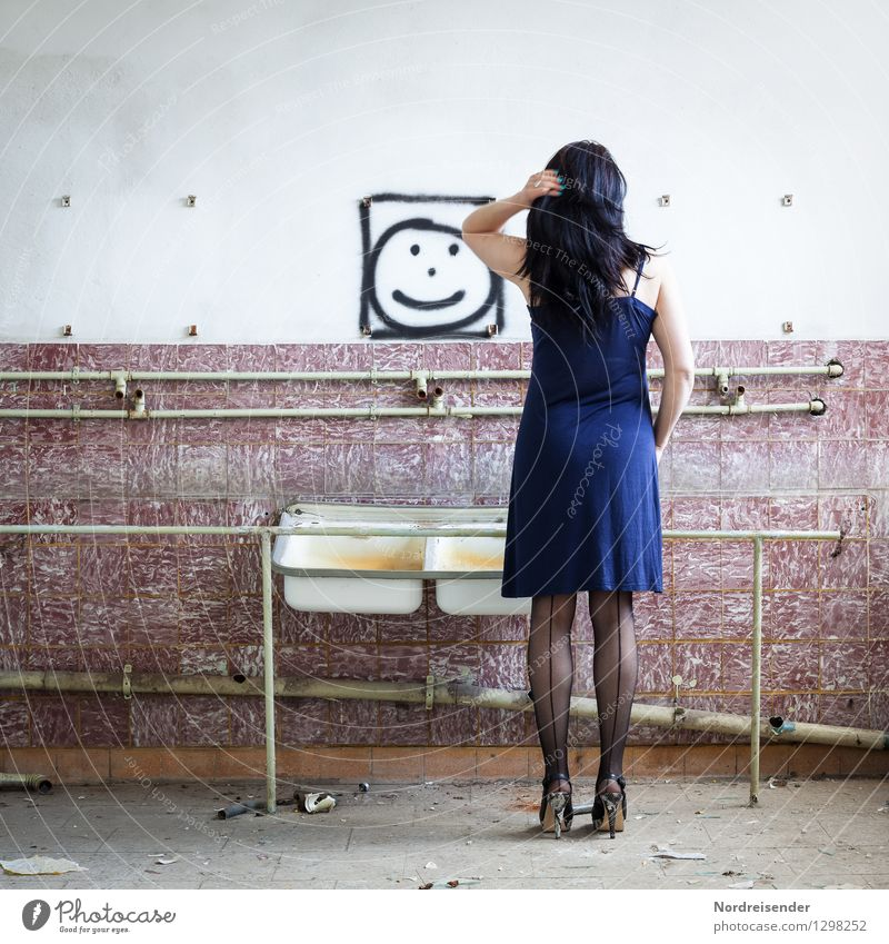 Human being Woman Vacation & Travel Beautiful Loneliness Adults Wall (building) Graffiti Interior design Feminine Wall (barrier) Hair and hairstyles Lifestyle Flat (apartment) Room Sign