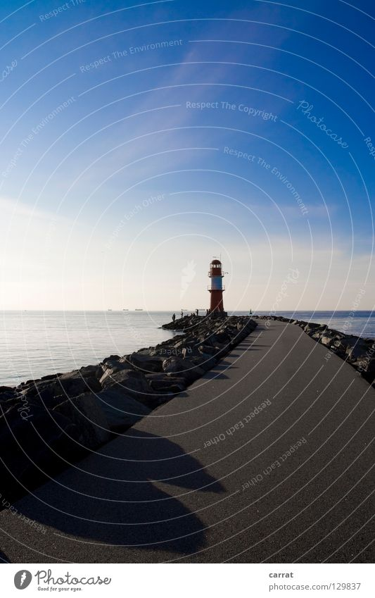 groundbreaking Navigation Direction Highway ramp (entrance) Rescue Calamitous Ocean Rostock Warnemünde Mole Lighthouse Afternoon To enjoy Harbour Target