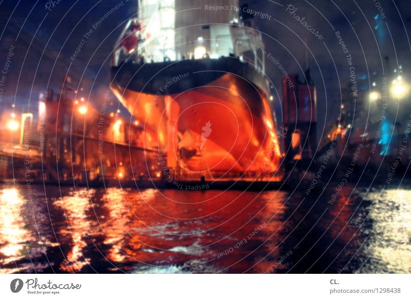 spaceship Economy Industry Water Waves Navigation Container ship Harbour Dark Large Colour photo Deserted Evening Night Artificial light