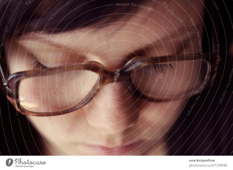 read Eyeglasses Old Retro Reading glasses Lens horn-rimmed glasses Vision Close-up Looking Demanding Nerdy Freak Brunette Downward