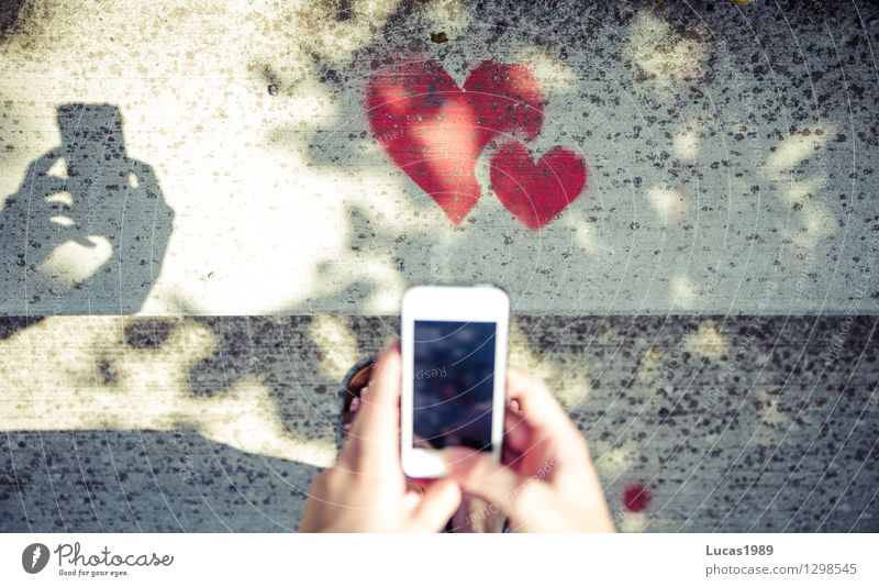 photographing with the smartphone heart, love mobile PDA SMS by hand Fingers Art Artist Painter Stairs Heart Love Red Sympathy Friendship Together Infatuation