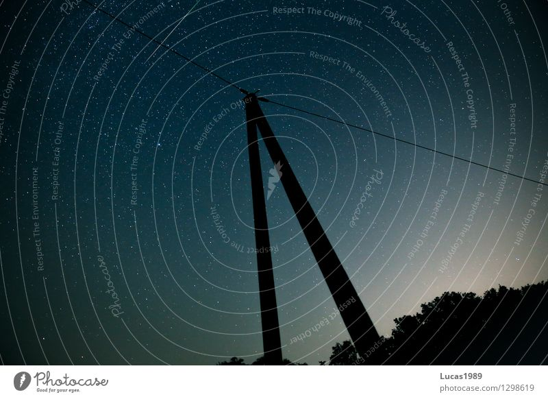 Cable, mast and shooting star Technology Telecommunications Environment Nature Sky Sky only Cloudless sky Night sky Stars Summer Beautiful weather Meadow Field