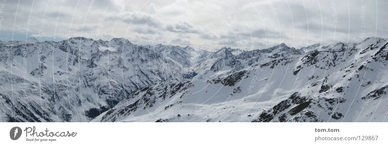 summit panorama Austria Sölden Ötz Valley Panorama (View) White Far-off places Glide Clouds Cold Glacier Peak Winter Vacation & Travel Air Pure Clean Fresh