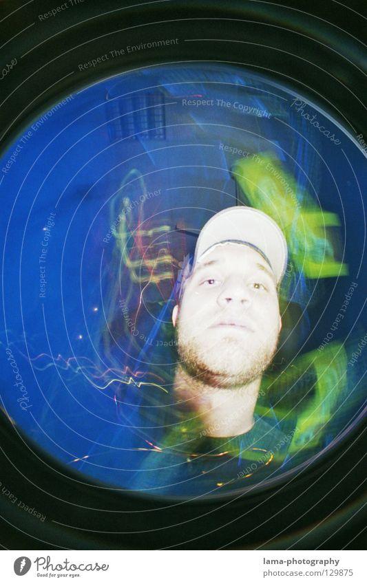 Man Blue Colour Circle Round Disco Sphere Analog Lightning Facial hair Trashy Cap Chaos Surprise Double exposure Exposure