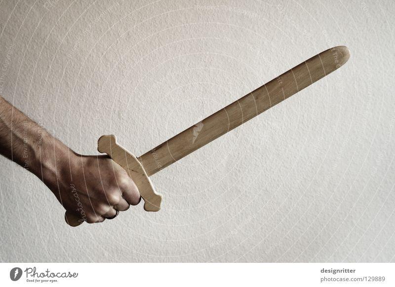 Für´s Terrorkind Sword Wood Weapon Toys Playing Fight Beat Cut Pierce Harm Kill War Fencing Defensive Attack Earnest Historic Carnival Dress up Wood flour Blow