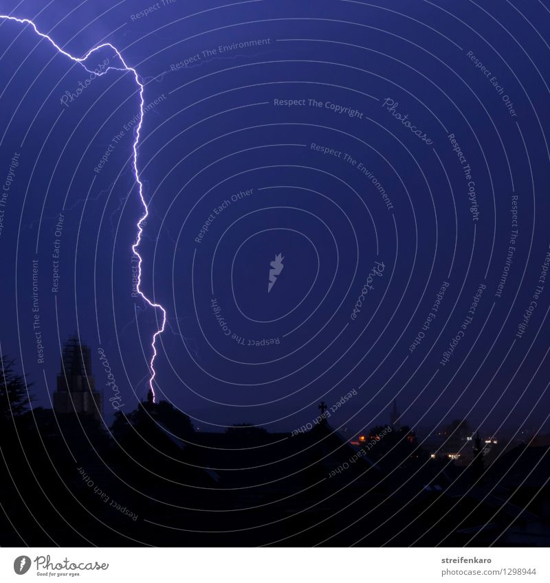 summer thunderstorms Environment Nature Elements Sky Night sky Summer Bad weather Storm Thunder and lightning Lightning Aachen Town