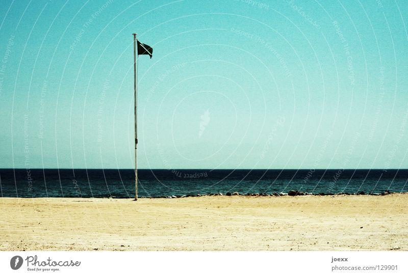 No rescue in sight. Loneliness Flag Flagpole Dangerous Horizon Ocean Sea water Savior Rescue Sandy beach Lake Vacation & Travel Bans Beach Coast Earth
