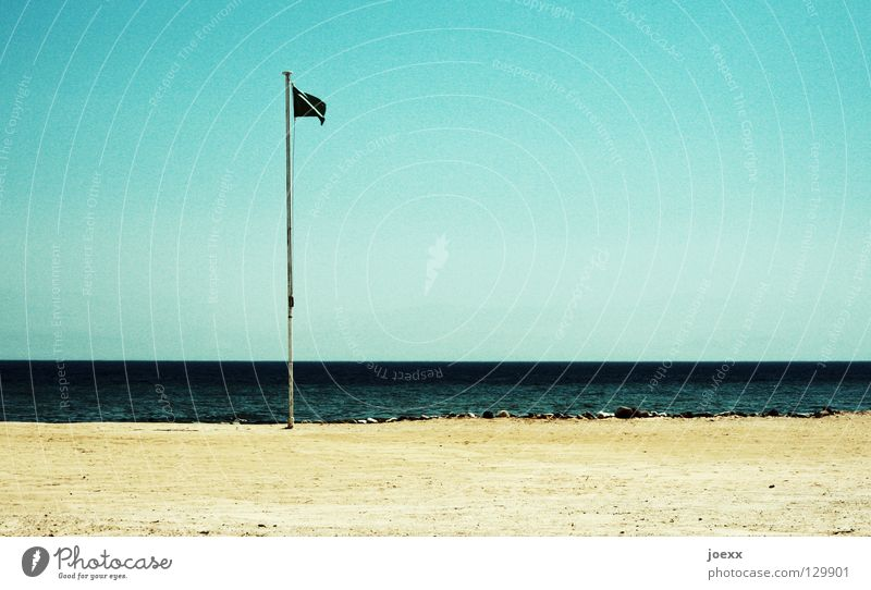 Water Sky Ocean Beach Vacation & Travel Loneliness Lake Sand Coast Horizon Earth Dangerous Flag Threat Bans