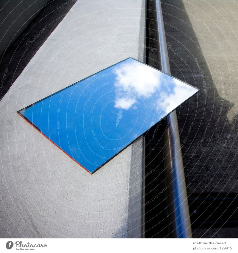 CONCRET SKY Mirror Mirror image Reflection Wall (building) Facade Cold Asphalt Dark Corner Grief Loneliness Gloomy Clouds Hope Beautiful Physics Reaction