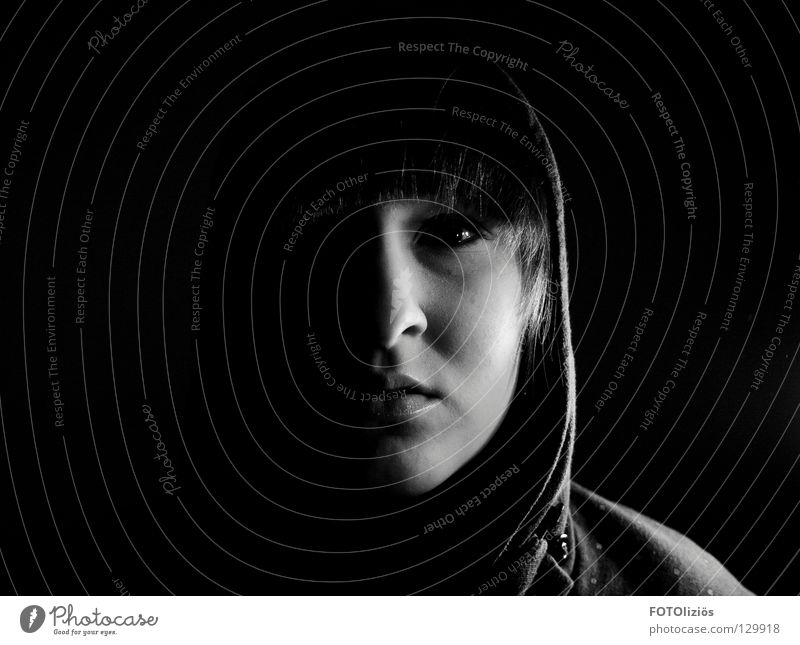 scarface? Woman Packaged Dark Loneliness Hooded (clothing) Silhouette Night Shadow child Black & white photo Face Nose Mouth Eyes Ear Bangs Profile shady world