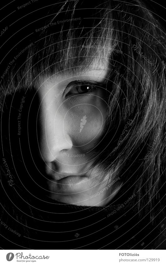 Portrait without names Woman Hair and hairstyles Photo laboratory Light Shadow child Black & white photo Low-key Face Eyes mudn Nose shady world