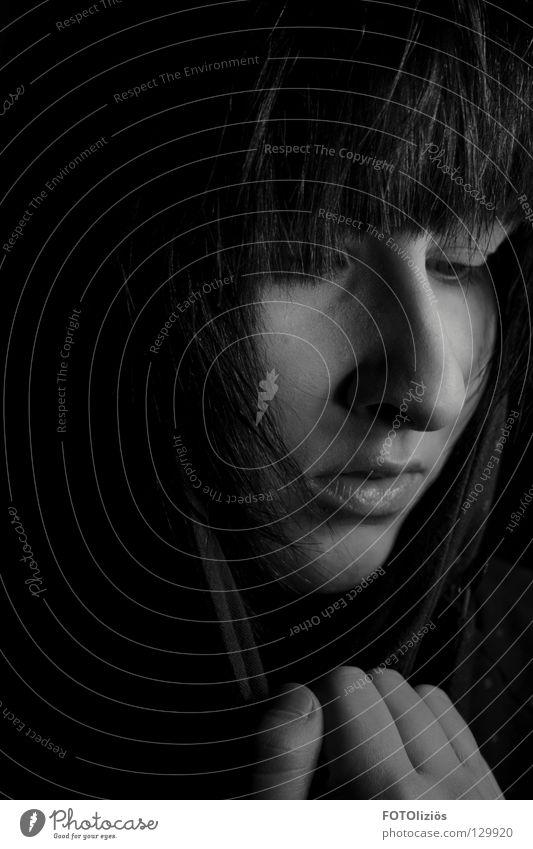 Woman Hand White Loneliness Black Face Dark Hair and hairstyles Sadness Think Mouth Nose Grief Distress Eyelash Withdrawn