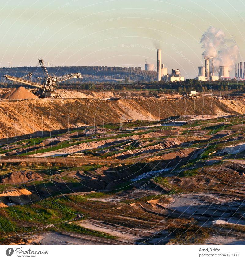 Garzweiler Lignite Dismantling Mining Excavator Factory Horizon Broken Annihilate Coal power station Brown Environmental pollution Destruction Fossil