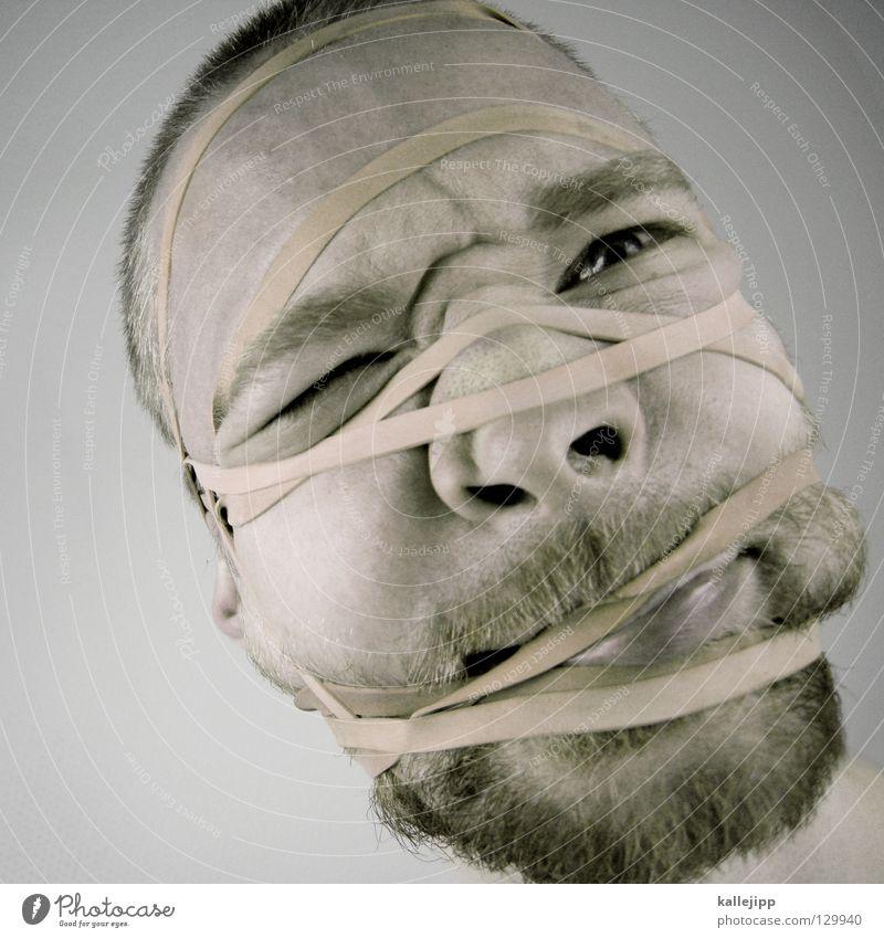 Human being Man Face Eyes Think Skin Nose String Creativity Net Idea Mask Wrinkles Illness Pain Facial hair