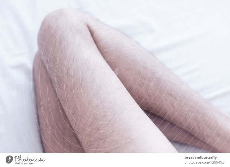 legs Bed Bedroom Human being Masculine Man Adults Legs Hair Lie Sleep Thin Authentic Bright Naked Colour photo Interior shot Light