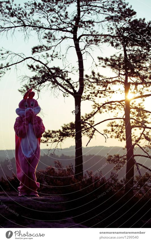 Easter in nature I Art Work of art Esthetic Hare & Rabbit & Bunny Hare ears Hare hunting Buck teeth Rabbit's foot Nature Exterior shot Joy Pink Costume Plush