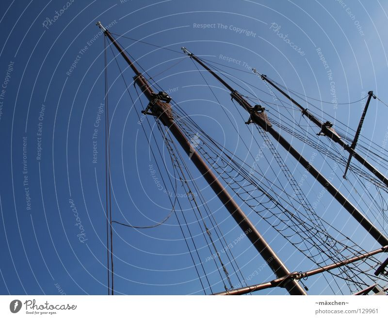 three mast Watercraft 3 Sailing ship Wood Wood flour Sky Ocean Jetty Harbour Navigation Electricity pylon masts three-mast three-master Rope Net boat Blue