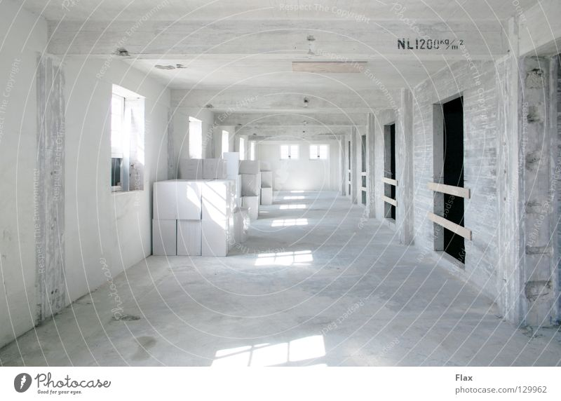 purity Construction site Concrete Cement Lime White Room Pure Dust Diffuse Simple Light Industry atmospherically Storage storage room Redecorate cubistic Reduce