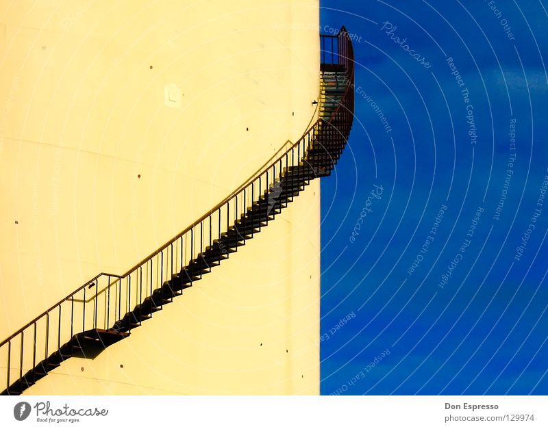 Sky Blue Clouds Yellow Above Lanes & trails Industry Stairs Illustration Rotate Upward Handrail Graphic Sky blue Silo