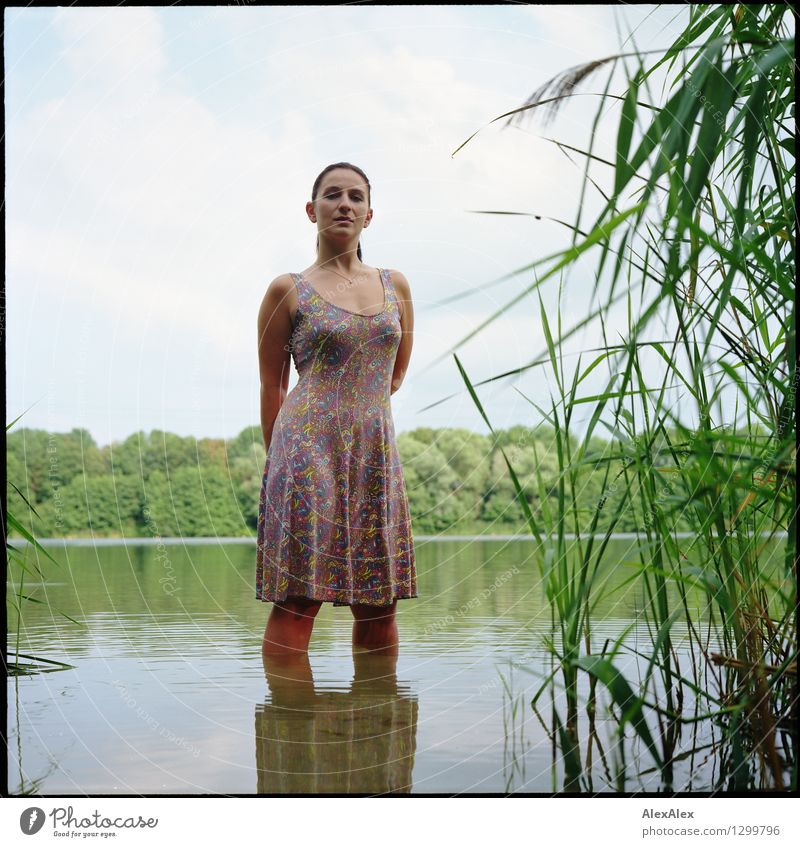 mermaid Swimming & Bathing Trip Young woman Youth (Young adults) 18 - 30 years Adults Nature Landscape Plant Water Sky Beautiful weather Common Reed Tree Lake