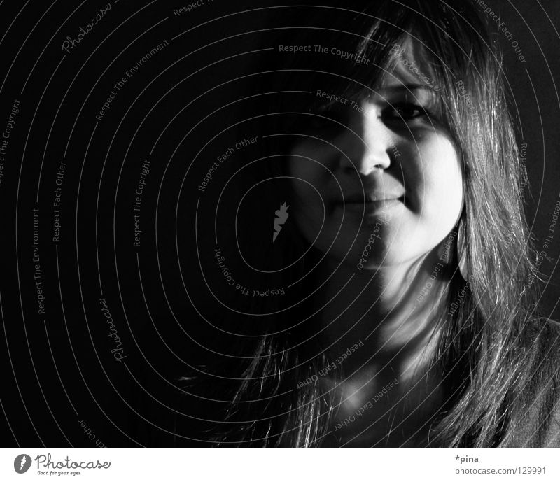 Woman Beautiful Face Dark Hair and hairstyles Bright Fear Planning Mysterious Square Hide Concealed Invisible Portrait photograph Visible Bright spot
