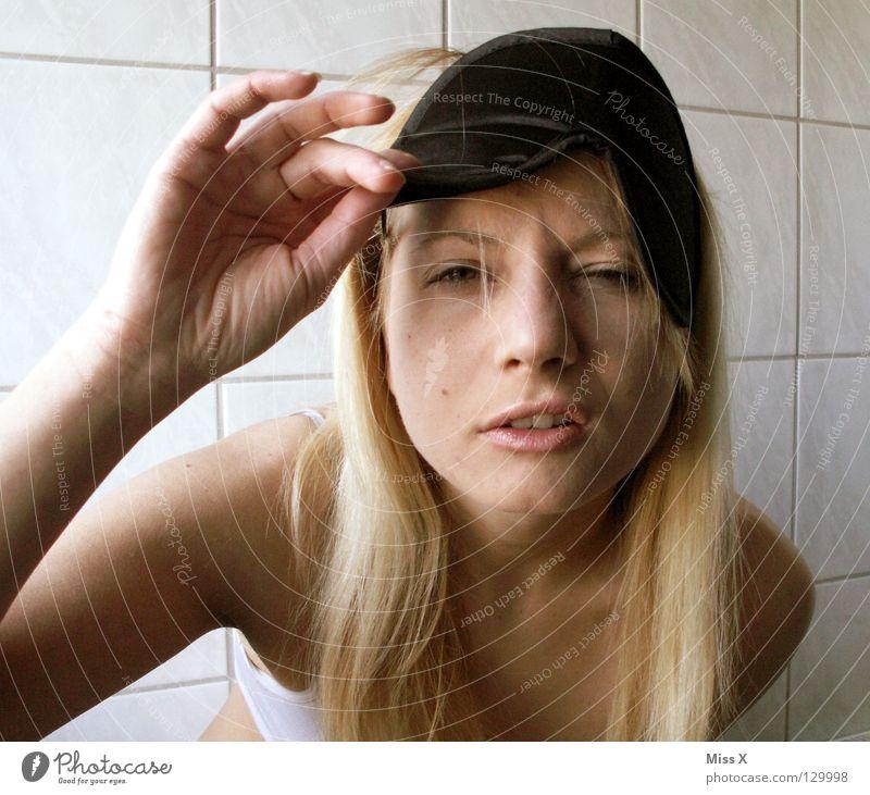 MONDAY MORNING 6:29 Beautiful Face Bathroom Head Blonde Fatigue Lack of sleep Monday sleep mask Wake up Oversleep Good morning Hung-over Mask