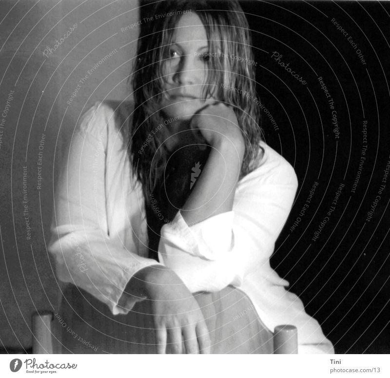 SitandWait Woman Black White Wet Blouse Human being Black & white photo Chair