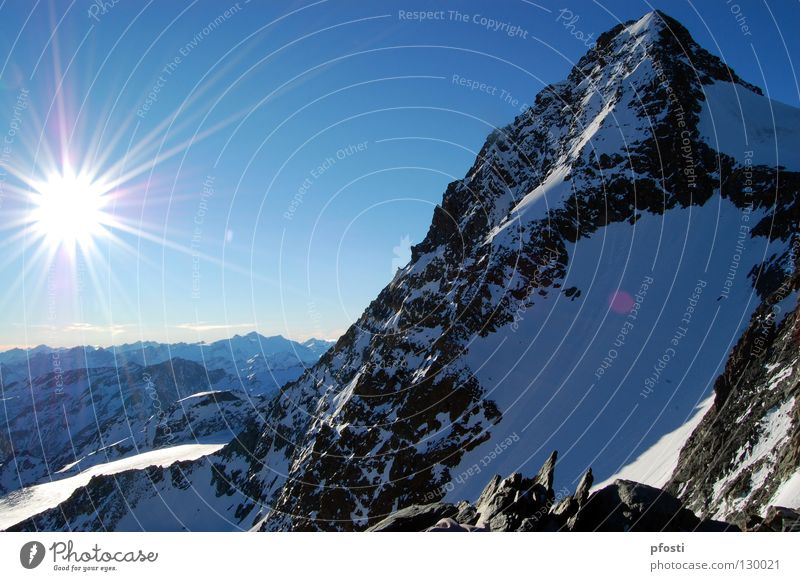 Nature Beautiful Sky Sun Blue Winter Snow Mountain Stone Warmth Ice Lighting Hiking Large Rope Perspective