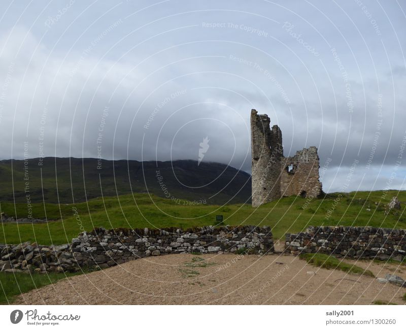 Coming home family residence... Clouds Bad weather Meadow Hill Mountain Scotland Deserted Castle Ruin Tower Wall (barrier) Wall (building) Facade