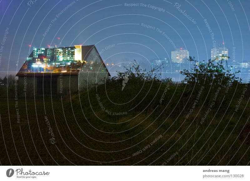 Sky Old Blue House (Residential Structure) Dark Grass Lamp Bright Field Bushes Roof Skyline Gate Double exposure Barn