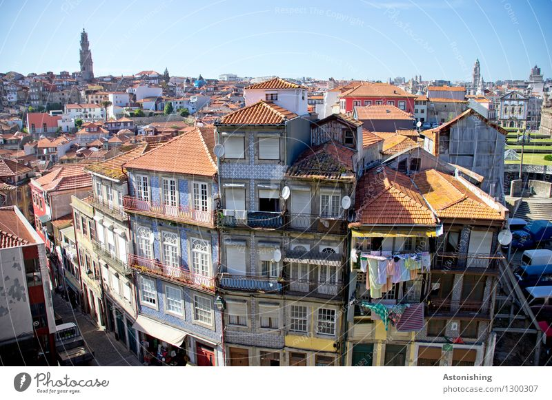 Postage II Environment Air Sky Cloudless sky Horizon Summer Weather Beautiful weather Warmth Porto Portugal Town Capital city Port City Downtown Old town