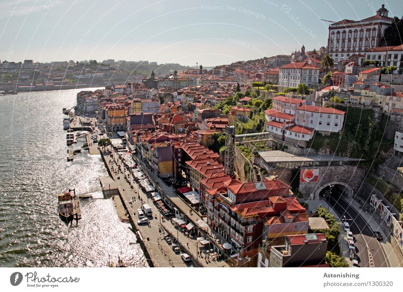 Postage IV Environment Nature Water Sky Horizon Summer Weather Beautiful weather Plant River Rio Douro Porto Portugal Town Capital city Port City Downtown