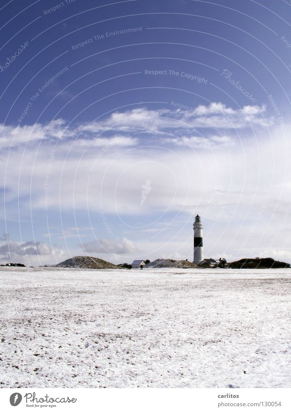 island winter Lighthouse Red White Coast Watercraft Navigation mark Sylt Wenningstedt Kampen Beach Air Sea water Seaman Ocean Signal Orientation
