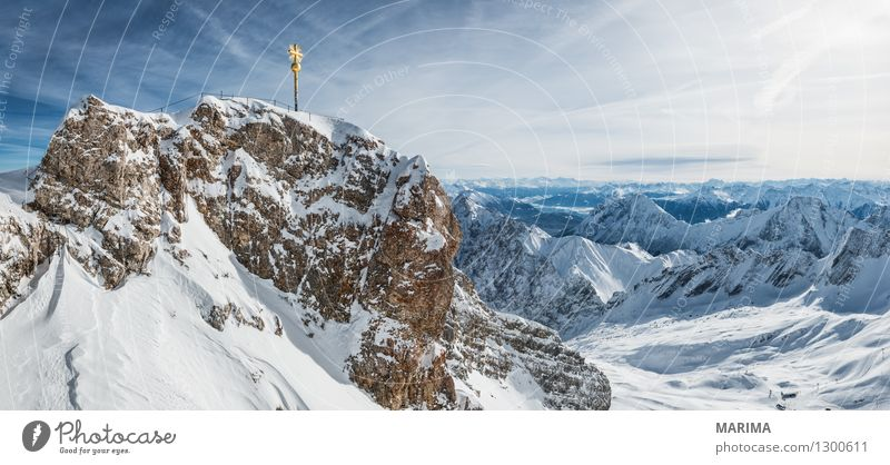 Nature Vacation & Travel White Sun Landscape Clouds Winter Cold Mountain Freedom Stone Germany Rock Tourism Europe Alps