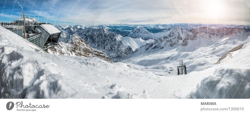 wonderfull winter day on the Zugspitze Vacation & Travel Tourism Freedom Sun Winter Mountain Nature Landscape Clouds Rock Alps Tourist Attraction Cable car
