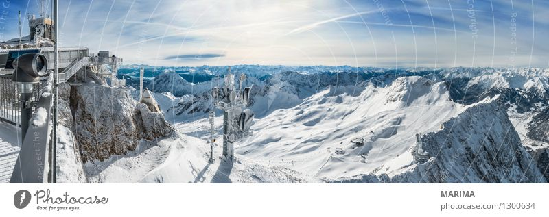 wonderfull winter day on the Zugspitze Vacation & Travel Tourism Freedom Sun Winter Mountain Telecommunications Nature Landscape Clouds Rock Alps Antenna