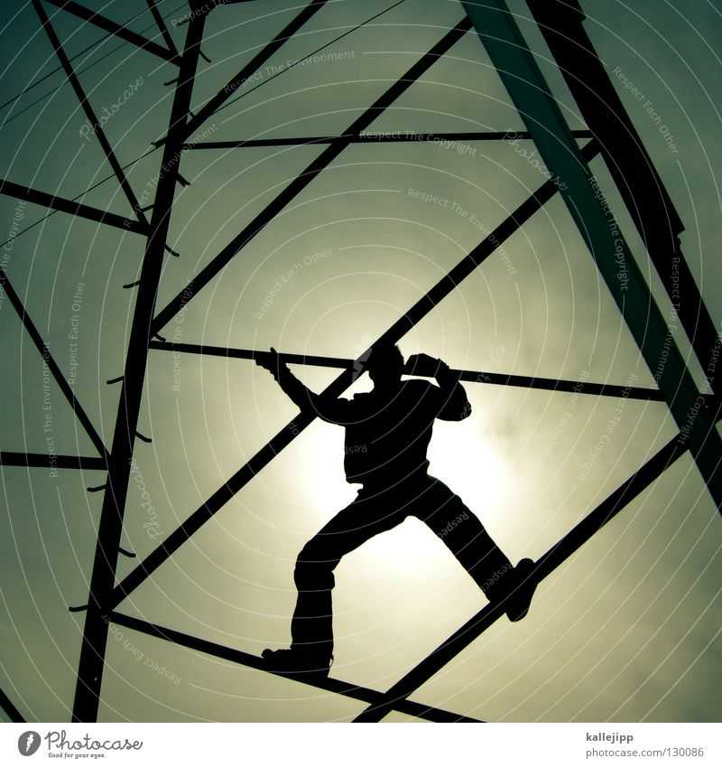 Human being Man Clouds Above Architecture Energy industry Tall Success Dangerous Electricity Lifestyle Tower Threat Technology To hold on Climbing