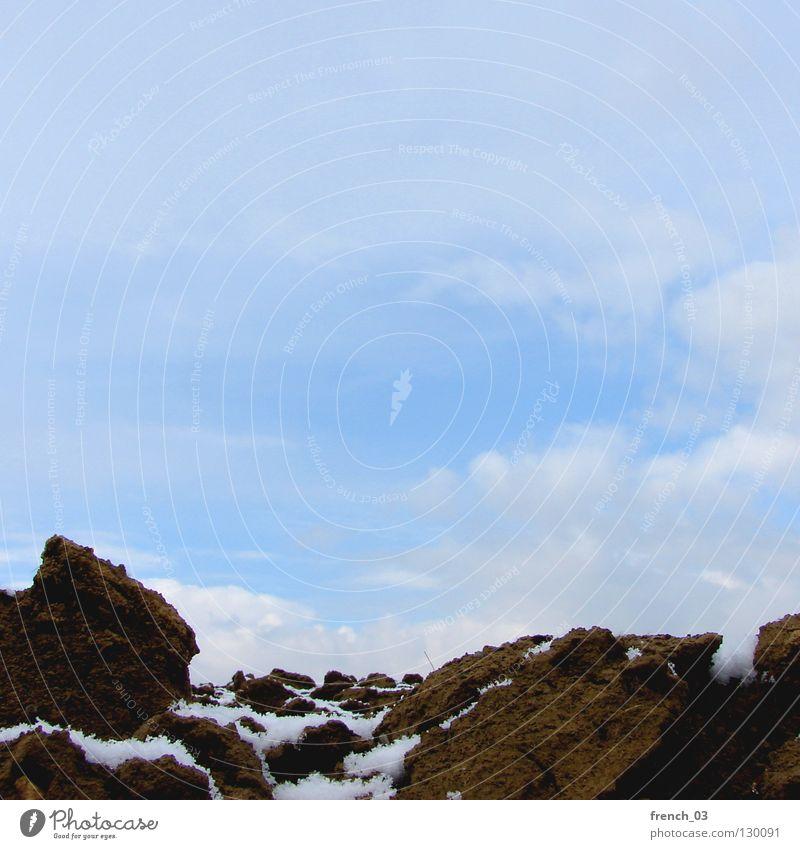 Sky Nature Blue White Landscape Clouds Far-off places Cold Snow Brown Field Earth Frozen Derelict Square Americas