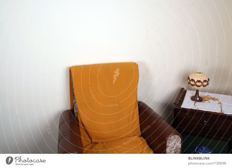 Old Yellow Wall (building) Lamp Brown Table Cable Point Sofa Furniture Living room Cozy Blanket Leather Beige Armchair