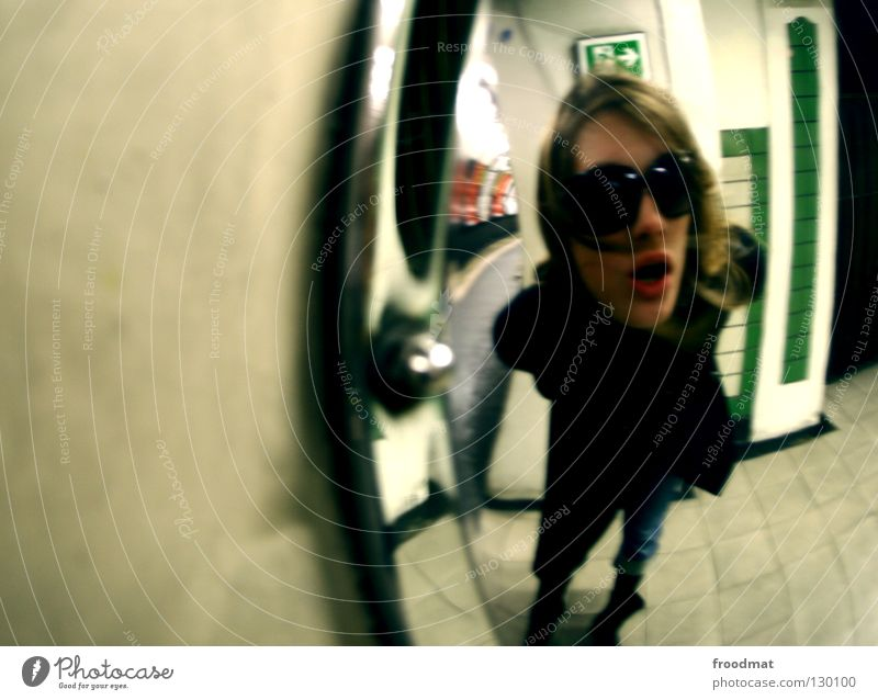 fried egg London Underground Tunnel vision Deep Future Time Time travel Vanishing point Dark Great Britain In transit Blur Woman Black Sunglasses Magic