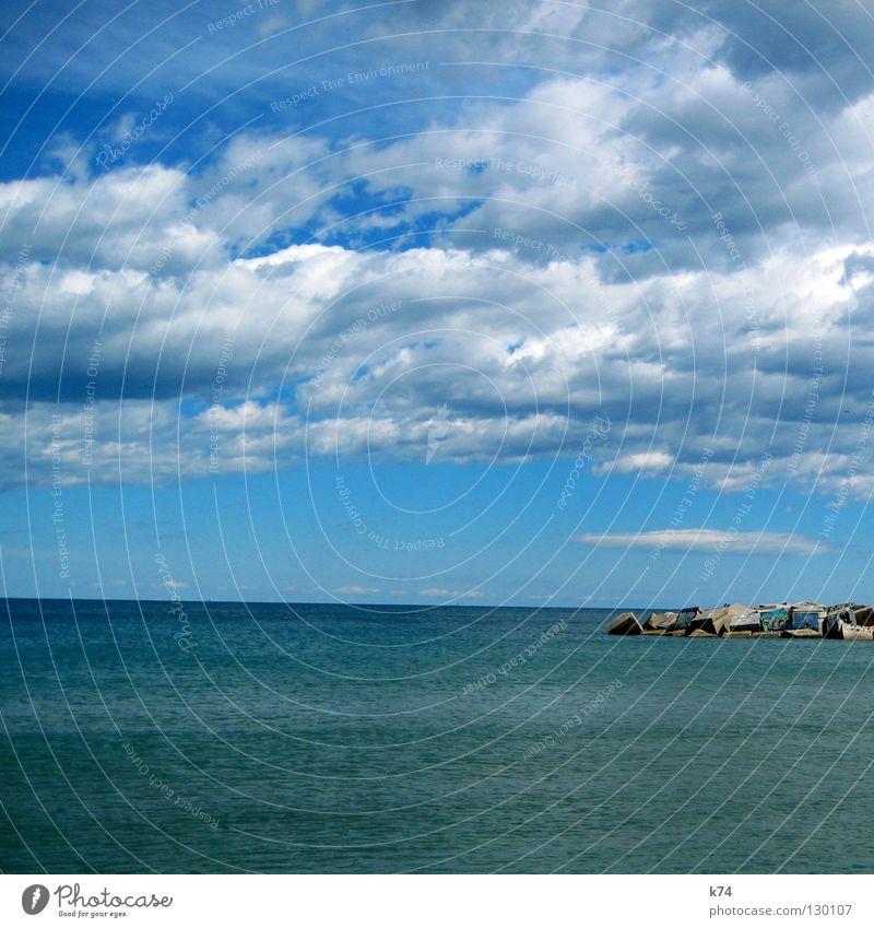 jetty Ocean Clouds Horizon Mole Concrete Square Accumulation Break water Lake Water Harbour Sky Blue Far-off places Deep Graffiti cube Wind Weather Sun