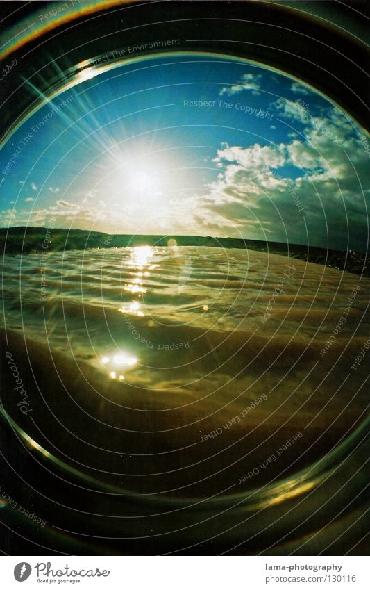 NATURAL WASH CYCLE Sun Sunbeam Summer Clouds Brook Lake Puddle Waves Surf Underwater photo Tide Cleaning Dirty Field Agriculture Dazzle Light Back-light Fisheye