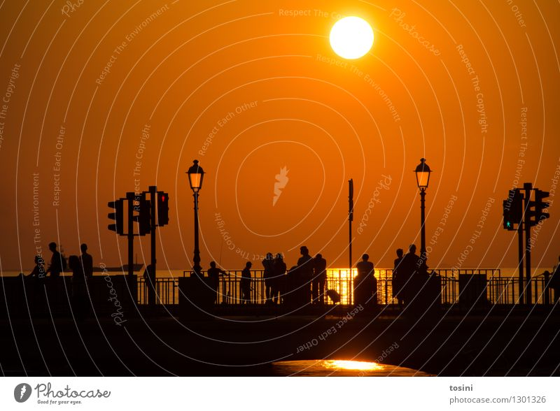 At dusk VI Human being Group Water Sun Sunrise Sunset Sunlight Maritime Bridge Bridge railing Street lighting Dusk Traffic light Gold Colour photo