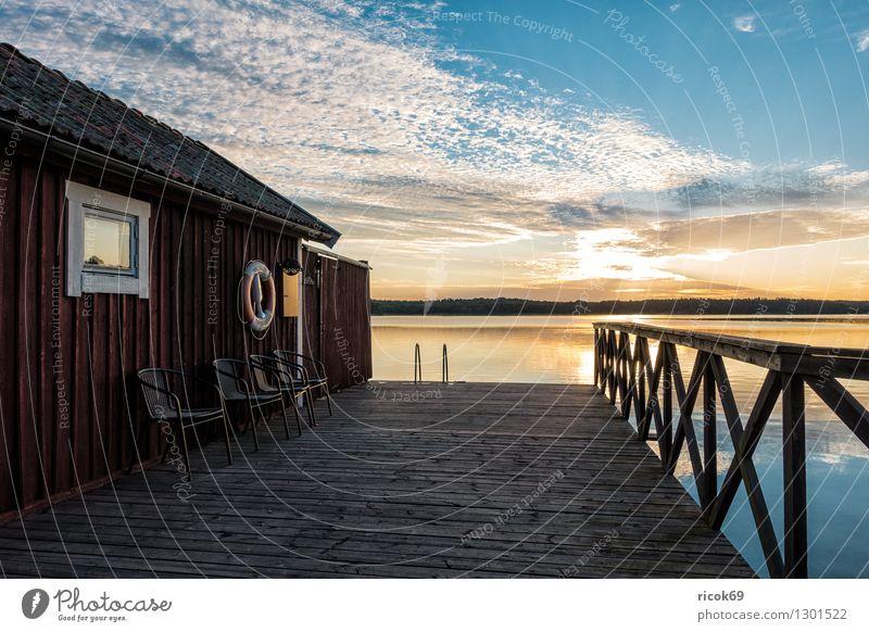 Nature Vacation & Travel Blue Relaxation Landscape Clouds Coast Tourism Island Baltic Sea Hut Footbridge Jetty Scandinavia Wooden house Skerry